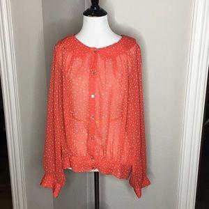 Chelsea & Violet Coral polka dot blouse - Size: L